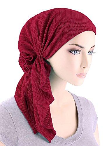 Bella Schal Plisse Chemo Mütze Turban Kopftuch Vorgebunden Kopfbedeckung Bandana Tichel gegen Krebs -  Rot -  Einheitsgröße