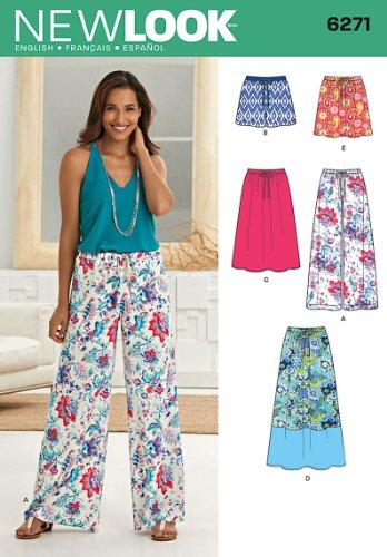 Simplicity New Look Schnittmuster 6271 für Röcke, Hosen oder Shorts, Größe A (36–48)