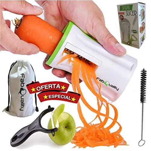 FabQuality Premium Spiralschneider la Main pour Gemüsespaghetti Pomme de Terre - avec Un Faisceau Kochbuch et Contient Les Bürste pour Les opérations de Nettoyage courgettes Spargelschäler,