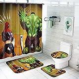 Fgolphd Avengers Duschvorhang 180x200180x180 Marvel Captain America Iron Man Shower CurtainsWasserdicht Badezimmerteppich 4-teiliges Set (180 * 180,18)