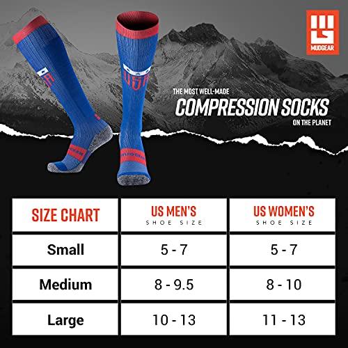 『MudGear プレミアムコンプレッションソックス – メンズ&レディース ランニング ハイキングトレイル (1ペア) L ブルー』の6枚目の画像