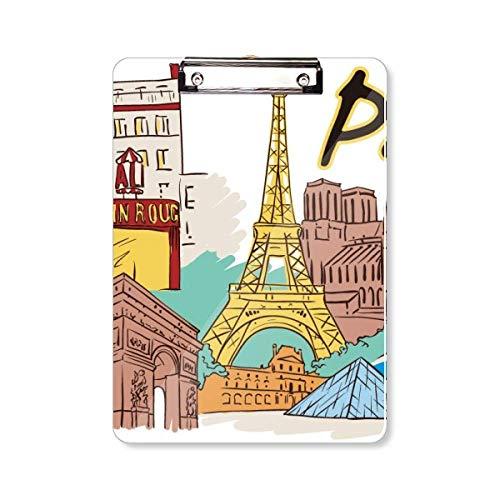 Frankrijk Parijs Eiffeltoren aquarel klembord map schrijfblok achterplaat A4
