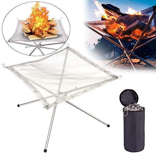 XFSD Outdoor Portable Fire Pit, Stainless Steel Folding Bonfire Rack with Storage Bag for Camping, Patio, Backyard and Garden, Barbecue Accessories, Silver