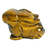 favoramulet 2' Natural Tiger's Eye Sitting Rabbit Statue, Hand Carved Animal Figurine Sculpture Decorative Fengshui Home Decoration Healing Crystal