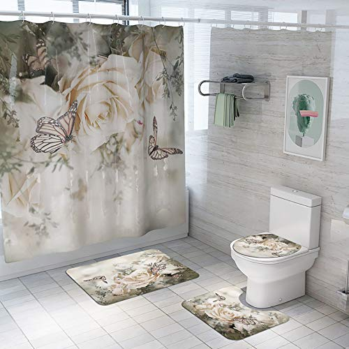 Rose Shower Curtain Sets with Soft Flannel Rugs,Toilet Lid Cover and Bath Mat,Flowers Bathroom Curtain Set with 12 Hooks Butterfly Waterproof Polyester Fabric Floral Shower Curtains for Bathroom Decor