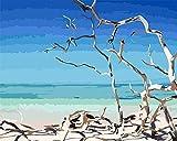 JiaHM Mano, Maleta, el mar Pintar por números Dibujo con Pinceles-Sin Marco 40x50cm