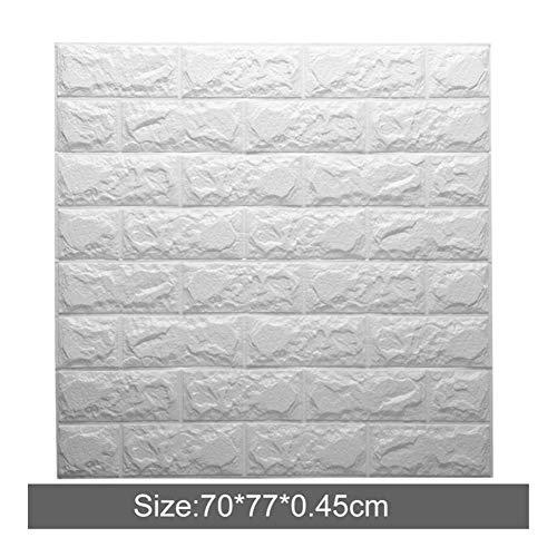 Mousse Chaude PE Mur De Parement De Briques 3D Papier Peint Brique Mur Pierre-relief Décoratif Bricolage Maison Papier Peint Toile De Fond (Color : White, Size : Wall sticker)