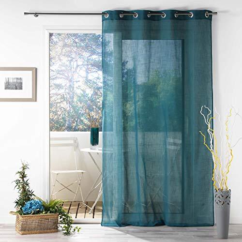 douceur d'intérieur, Voilage à oeillets 140 x 280 cm effet lin tissé zazy bleu