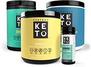 The Perfect Keto Starter Bundle for Ketogenic Diet | Best to Burn Fat and Support Energy | Includes Collagen, MCT Oil, Exogenous Ketone Base & Testing Strips (Vanilla)