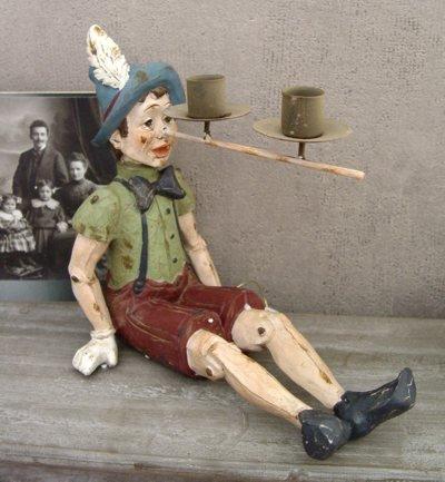 PALAZZO INT Vintage KERZENLEUCHTER Pinocchio Figur Shabby CHIC