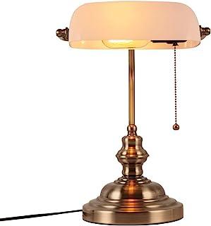 Newrays Lámpara de escritorio de vidrio blanco para banqueros con interruptor de cadena de extracción accesorio de latón ...