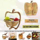Semine Zusammenklappbarer Obstkorb Apfelform Bambuskorb Obst Eierkorb aufbewahren -