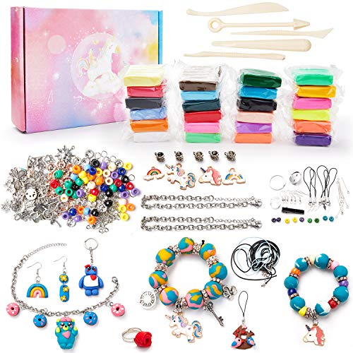 Make Your Own Clay Jewelry - Clay Jewelry Making Craft Kit for Girls, Arts and Crafts for Kids Ages 8-12 and Up, Oven Bake Polymer Clay Kit for Creating Jewelry, Ornament, Handmade Gift