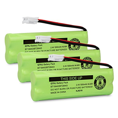 QTKJ BT18443 BT28443 Cordless Phone Battery for VTech LS-6115 LS-6117 LS-6125 LS6126 LS6225 LS6205 LS6217 LS-6205 LS-6215 89133700 Phone Handsets (3-Pack)