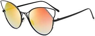 Fashion Colorful Sunglasses Metal Glasses Round Frog Mirror UV400 Fashion Ladies Sunglasses Retro (Color : Multi-Colored)