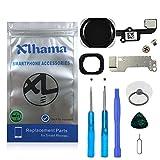 Xlhama Bouton Home pour iPhone 6/6 Plus (Noir) avec Connecteur Nappe Flex Cadre en métal Protège Bouton et Joint en Caoutchouc...