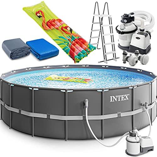 Intex Ultra XTR Frame Swimming Pool 549 x 132 cm Schwimmbecken 26330 Komplett-Set mit Sand-Filteranlage sowie Extra-Zubehör wie: Luftmatratze