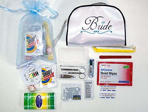 Yacanna Wedding Survival Kit Bridal Emergency Kit in White Satin Bride Travel Bag -Gifts for Bride