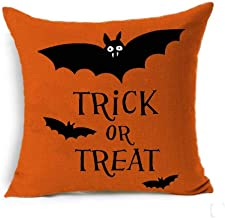 SLS Happy Halloween Boo Trick Or Treat Cotton Linen Decorative Throw Pillow Case Cushion Cover Linen Pillow case 18X18 (4)