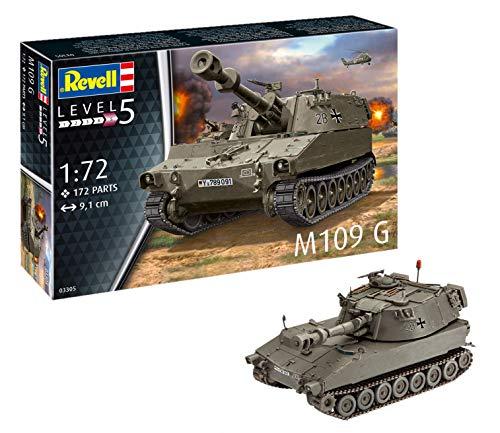 Revell Maqueta de Tanque M109 G Obus orgin Algas fidelidad imitación con Muchos Detalles, Kit modele Escala 1:72 (03305) (Revell03305)