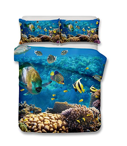 helengili fish in the ocean 3D Bedding Set (duvet cover set+ 2 pillowcases) Print Duvet cover set without any filling (02,single-140x210cm)