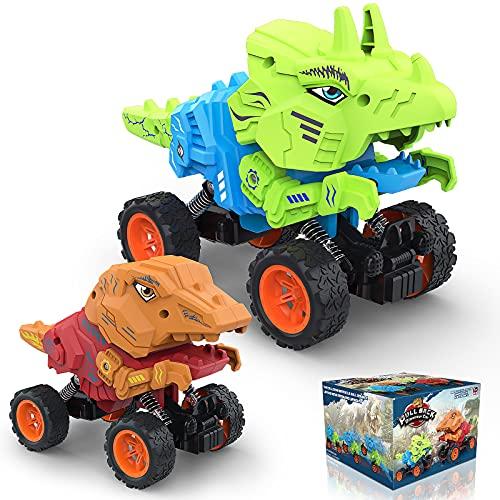 Allaugh Dinosauro Macchinine Giocattolo, 4WD Dinosauro Tirare Indietro Veicoli per Bambini, 2 in 1 Giocattolo di Dinosauro & Monster Truck per Bambino 3 4 5 6 7 8 9 10 Anni Compleanno Regali