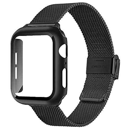 Livronic Para Apple Watch Case + Band SE 6 5 4 3 44 mm 40 mm 42 mm 38 mm + protector de pantalla de vidrio templado para bandas de iwatch (color de la correa: negro negro, ancho de la correa: 42 mm
