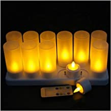 NXYCXXJS 12 Piece Set Remote Control Rechargeable Flameless Candle Light 4H/8H Timer Controller Frosted Stand F/Christmas ...