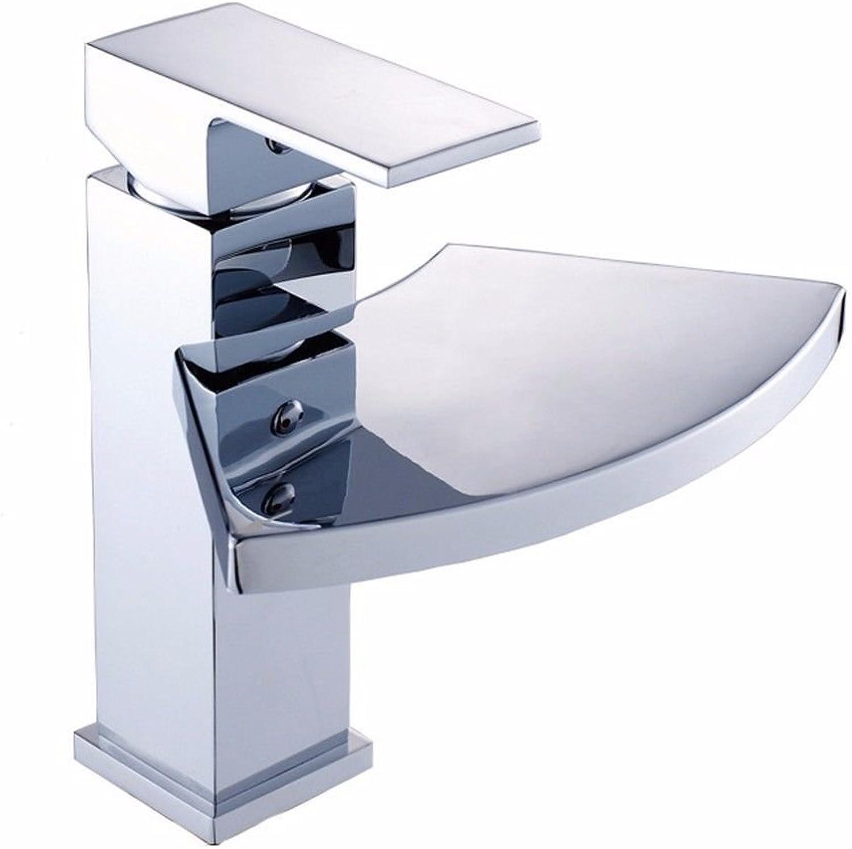 Gyps Faucet Waschtisch-Einhebelmischer Waschtischarmatur BadarmaturEin Modernes und Stilvolles Design Einzigen Griff Einzelne Bohrung Silber Waschbecken Wasserhahn Big Mouth Wasserfall Wasser - Mess