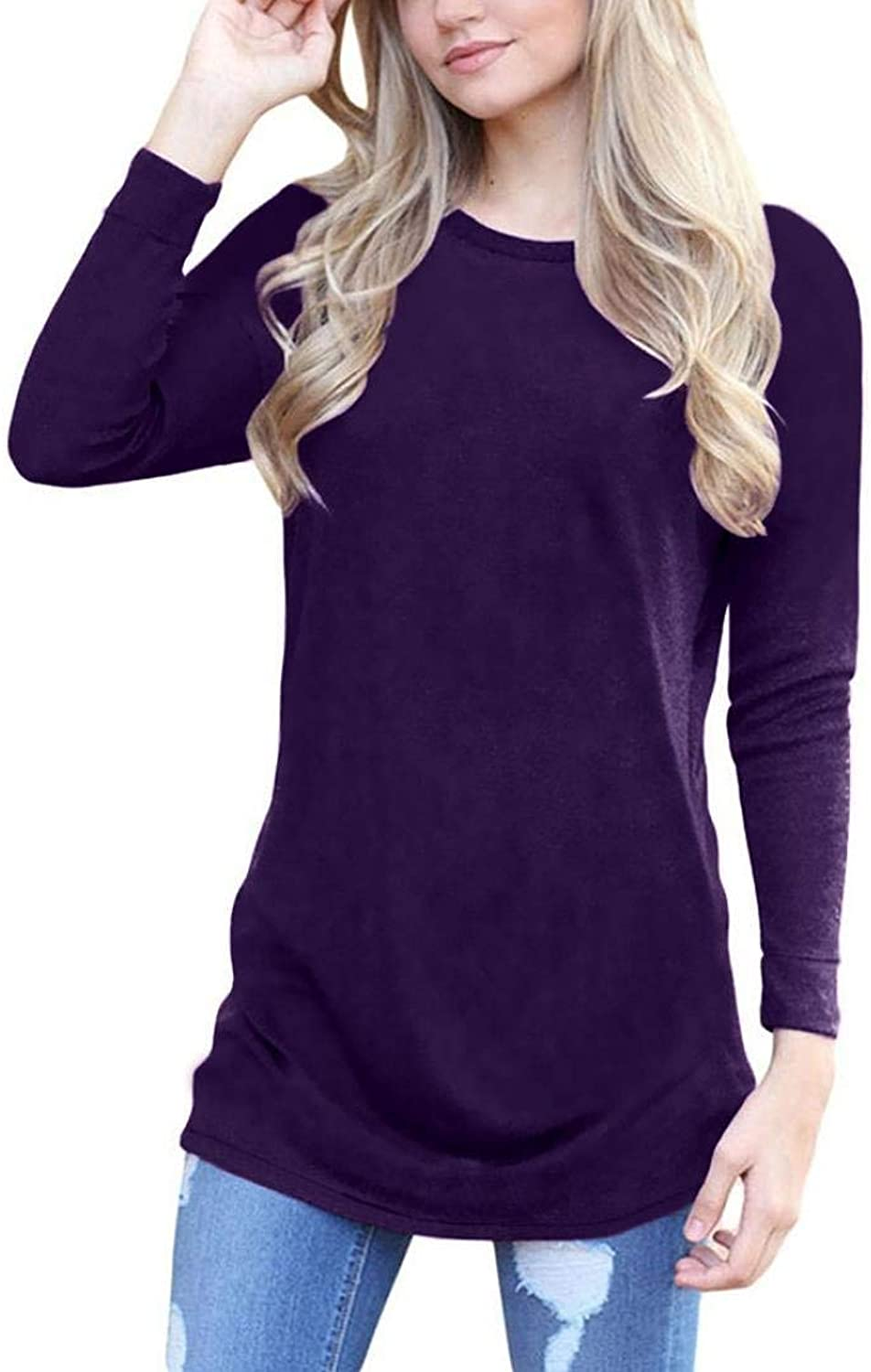 Ladies Sweater Womens Winter Fleece Casual Long Sleeve Vintage Knitted Sweater Long Blouse Warm Solid color Long Section Wild Tight for Women (color   purplet, Size   S)