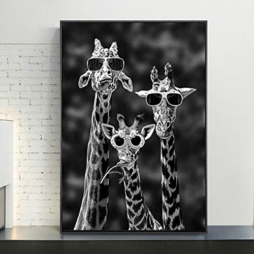 LELME Fotos de arte en lienzo con diseño de jirafas y gafas de sol, color blanco y negro, 30 x 40 cm, sin marco