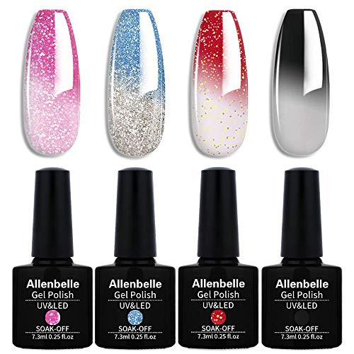 Allenbelle Smalto Semipermanente Camaleonte Nail Polish UV LED Gel Unghie (Kit di 4 pcs 7.3ML/pc) 014