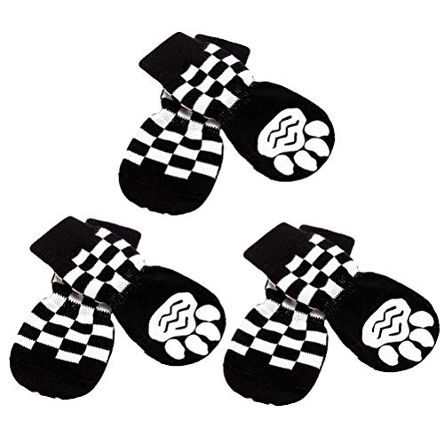 SCENEREAL Anti Slip Dog Socks with Straps Traction Control 3 Pairs Set - Plaid Paw Protector for...