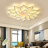 LED Dimmable Ceiling Light Modern Flower Shape Ceiling Lamp Fixture Living Room Bedroom Children's Room Flush Hanging Lamp Metal Acrylic Petal Ceiling Chandelier Lighting,18 heads/ø47.2″/168w