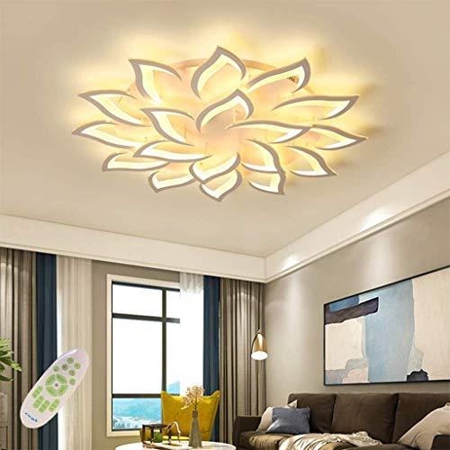 Moderne LED Deckenleuchte Dimmbar Mit Fernbedienung Deckenlampe Metall Acryl Kronleuchter Blütenblätter Deckenlicht Wohnzimmer Schlafzimmer Kinderzimmer Weiß Lampe Pendelleuchte 18Heads