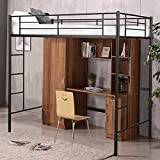 CASART. 3FT <span class='highlight'>High</span> Bed with Twin Ladders and Safety Guardrail, <span class='highlight'>High</span> Sleeper & Household Space Saver, Metal Bunk Bed Loft Frame for Boys Girls Teens Kids Bedroom Dorm (Black)