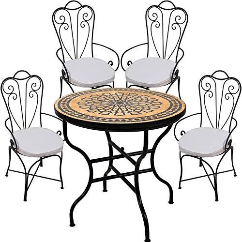 Marokkaanse zitgroep tuintafel met 4 stoelen | 5-delig van mozaïek tafel rond inklapbaar ø 80 cm groot en twee tuinstoelen van metaal met stoelkussens | Mediterrane tuinmeubelset