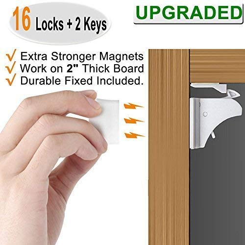 16 Pack Child Safety Magnetic Cabinet Locks - Vmaisi Children Proof Cupboard Baby Locks Latches - Adhesive for Cabinets & Drawers and Screws Fixed for Durable Protection