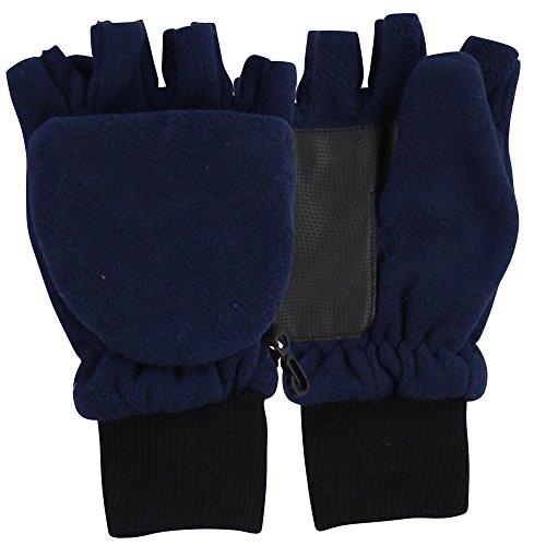 Boy's Sport Fleece Fingerless Gloves / Convertible Mittens-Navy (Size 8 to 16)