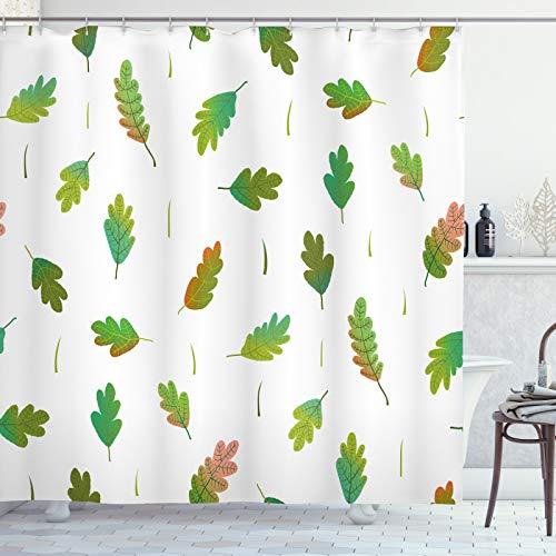 ABAKUHAUS Herbstlaub Duschvorhang, wahllos angeordnet, Waschbar & Leicht zu pflegen mit 12 Haken Hochwertiger Druck Farbfest Langhaltig, 175x200 cm, Olivgrün Farn-Grün