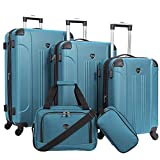 Travelers Club Sky+ Hardside Expandable Luggage Set with Spinner Wheels, Teal, 5 Piece