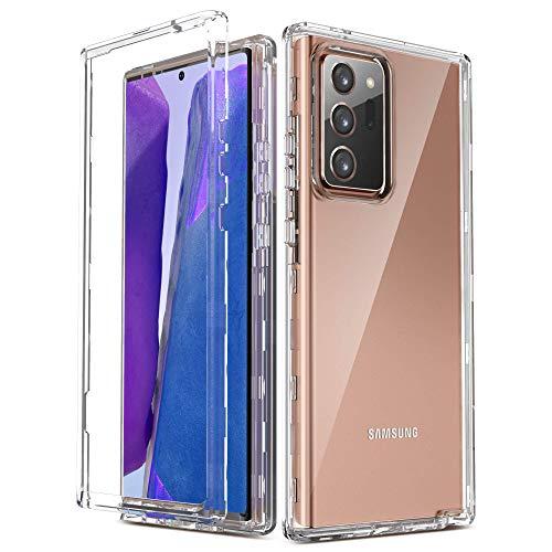 ULAK Funda Galaxy Note 20 Ultra, Transparente 3 en 1 Carcasa Dura PC Bumper y Silicona TPU Suave Resistente Cuerpo Completo Cubierta Protectora para Samsung Galaxy Note 20 Ultra 5G - Transparente