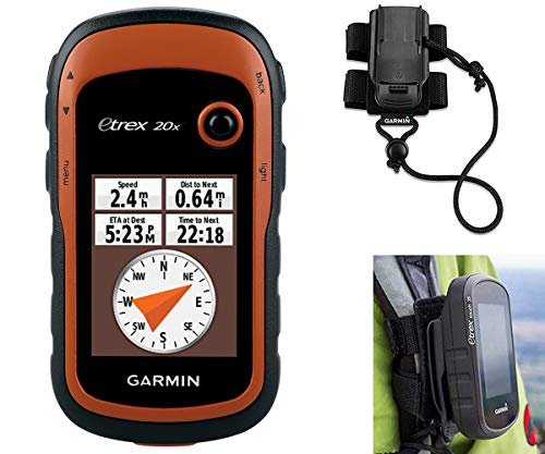 Garmin eTrex 20x Hiking GPS Bundle | with Backpack Tether Mount | GPS/GLONASS Handheld, Paperless Geocaching, 65K Color Display