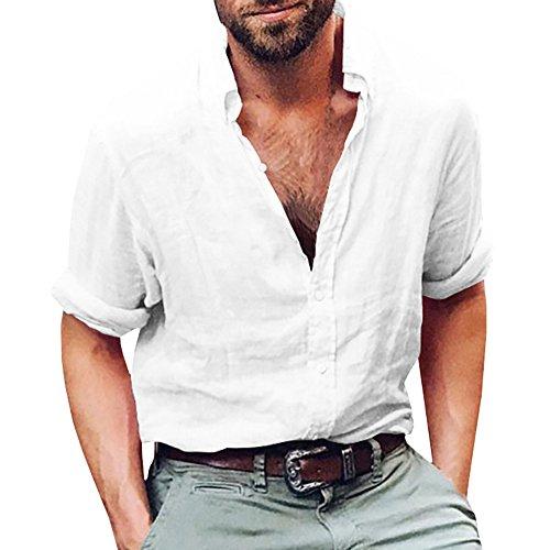 Gemijacka Leinenhemd Herren Regular Fit Button-down Sommerhemd Langarm & Kurzarm Herren Hemd Shirt Freizeithemd Herren, 1 - Weiß, XL