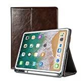 iPad Pro 11 inch 2018 Case, PU Leather Lightweight Smart Case Trifold Stand with Built-in Apple Pencil Holder and Auto Sleep Wake, Microfiber Lining, Soft Back Cover for Apple iPad 11 inch, Brown