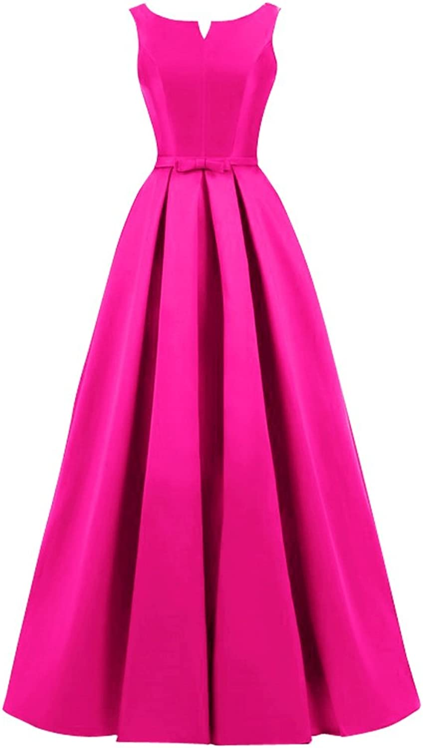 KAMA BRIDAL Women's Long A Line Satin Prom Gown Lace up Evening Dress with Bow
