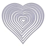 Luwu-Store Troqueles de Corte en Forma de corazón, Troqueles de Metal Plantilla de Relieve Plantillas de álbum de Recortes de Bricolaje 1 Juego