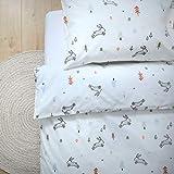 Parure de lit de luxe 100% coton biologique pour enfant avec housse de couette et taie d'oreiller 120x150cm Design Woodland par littlefeifei