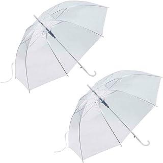 HKXR Creative Transparent Umbrella Long Handle Straight Stick Rain Sun Umbrellas Wedding Dance Princess Handle Umbrella (Color : Clear)