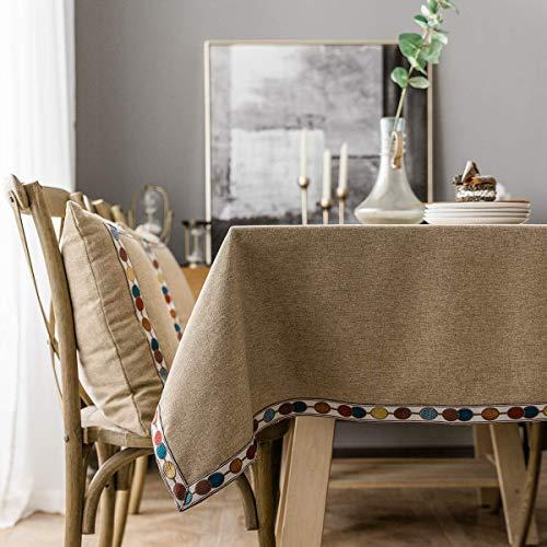 PLYY Mantel de Mesa Rectangular Antimanchas Lavable Mantel de Lino de Algodón de Borlas Manteles Mesa Cuadrado Tela Moderno para Decoración de la Mesa de Comedor (Marrón)